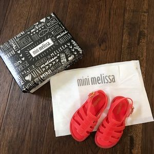 Mini Melissa Baby Girl's Flox. Neon Orange. Size 7